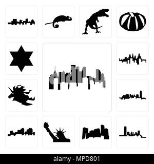 Set Of 13 simple editable icons such as pennsylvania state, oklahoma, minnesota, statue of liberty, louisiana outline on white background, unicorn hea - Stock Photo