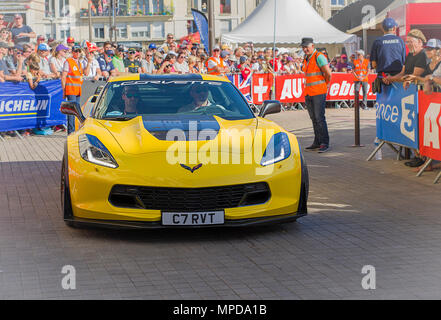 LE MANS, FRANCE - JUNE 16, 2017: Luxurious moderne car Corvette C7R at a parade of pilots racing 24 hours - Stock Photo