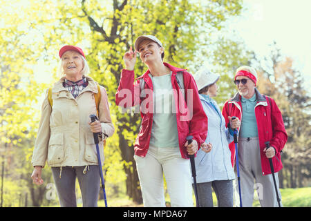Exuberant team hiking in the woods - Stock Photo