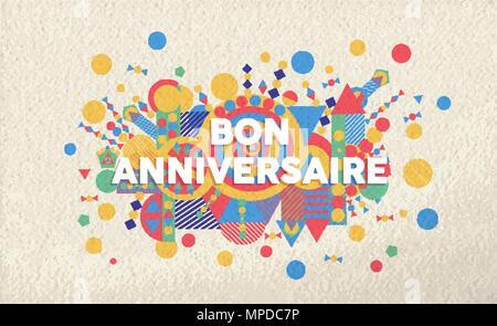 Vector French Illustration Birthday Greeting Card Bonne Fete Stock
