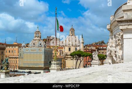 View from National monument a Vittorio Emanuele over the Church Santa Maria di Loreto, SS Nome di Maria, and Trajan's Column at the Trajan Forum near  - Stock Photo
