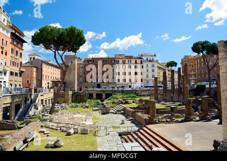 Largo di Torre Argentina. Square with ancient ruins of four Roman Republican temples and Pompey's Theatre in Rome, Italy - Stock Photo