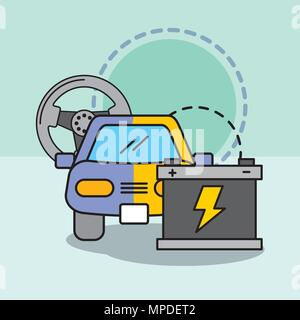 car service maintenance painting steering wheel and battery - Stock Photo