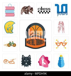 Set Of 13 simple editable icons such as basketball tournament, snowman, yoga studio, wolf face, carpet, masquerade, bike shop, long hair, warrior head - Stock Photo