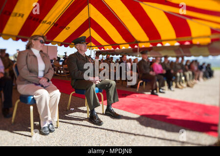 U.S. Marine Corps Col. Kenneth Kassner, former commanding officer, 5th Marine Regiment, 1st Marine Division, listens during a change of command ceremony, Camp Pendleton, Calif., Mar. 03, 2017. Col. Kenneth Kassner relinquishes command of 5th Marine Regiment to Col. George Schreffler. (U.S. Marine Corps photo by Lance Cpl. Danny Gonzalez) - Stock Photo