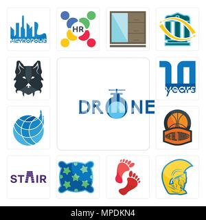 Set Of 13 simple editable icons such as, warrior head, foot print, pillow, stair, basketball tournament, logistics company, 10 year, wolf face can be  - Stock Photo