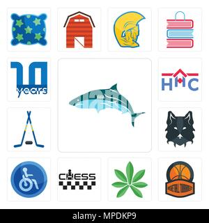 Set Of 13 simple editable icons such as, basketball tournament, pot leaf, chess, disabled, wolf face, hockey sticks, home health care, 10 year can be  - Stock Photo