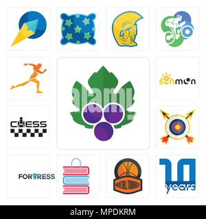 Set Of 13 simple editable icons such as grape leaves, 10 year, basketball tournament, book shop, fortress, archery, chess, sun moon, running club can  - Stock Photo