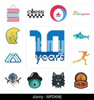 Set Of 13 simple editable icons such as 10 year, basketball tournament, wolf face, security camera, shield and sword, running club, 3 triangle, sharks - Stock Photo