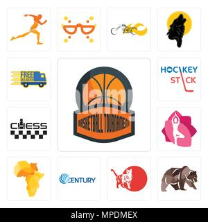 Set Of 13 simple editable icons such as basketball tournament, grizzly bear, cat, century, africa map, yoga studio, chess, hockey stick, free delivery - Stock Photo