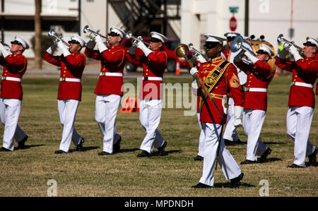 U.S. Marines attached to the Marine Drum and Bugle Corps, Marine Barracks Washington, D.C., perform during the Battle Color Ceremony at Marine Corps Air Station Yuma, Ariz., March 2, 2017. The ceremony was held to celebrate Marine Corps history using music, marching and precision drill. (U.S. Marine Corps photo by Lance Cpl. Christian Cachola/Released) - Stock Photo