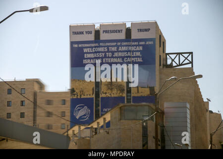 Tel Aviv, Israel - May 16, 2018: View of a banner in Jerusalem with the inscription Welcome to the American Embassy in Jerusalem, the eternal capital  - Stock Photo