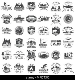 Summer camp,fishing, alpine and hiking club. Vector illustration. Set of vintage badges, labels, logos, silhouettes. Vintage typography collection wit - Stock Photo