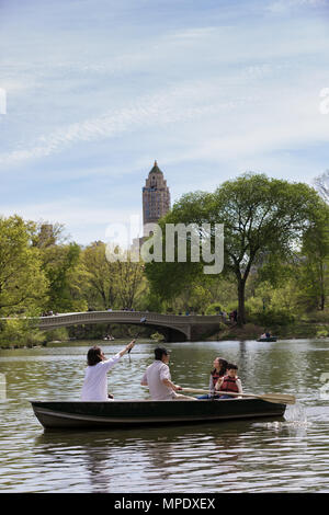 New York City, NY / United States of America, May 5th 2018: People enjoying the Central Park in a sunny day - Stock Photo