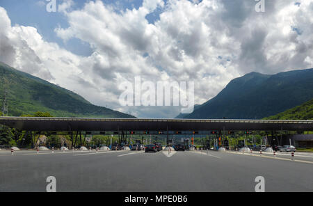 FRANCE, 23 YULY, 2016, checkpoint on the highway toll, FRANCE, 23 YULY, 2016 - Stock Photo
