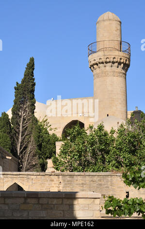The mosque built in the Shirvanshahs palace in the 15th century in the capital  of Azerbaijan Baku - Stock Photo