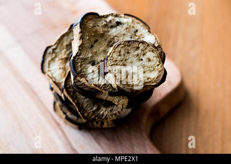 Stack of Fried Eggplant on wooden surface. Organic Food. - Stock Photo