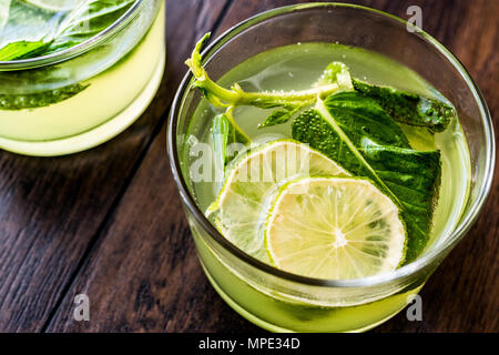 Refreshing green bitter lemon cocktail with mint leaves and lime. Beverage Concept. - Stock Photo