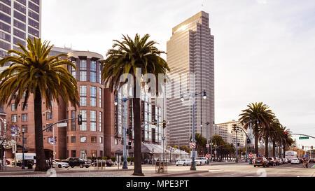 San Francisco, CA/USA - Feb. 1, 2015: City sight, corner of The Embarcadero and Mission Streets, San Francisco, CA. - Stock Photo