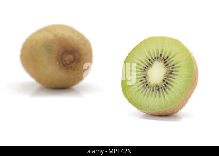 Fresh green kiwi fruit isolated on white background - Stock Photo