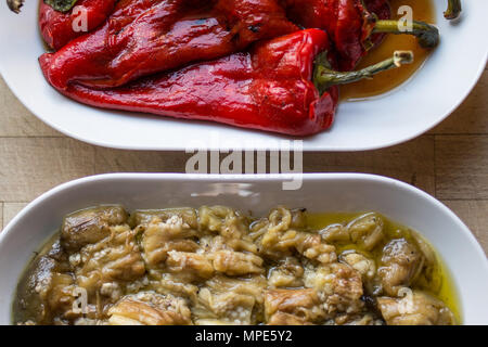 Turkish appetizer eggplant salad and marinated red pepper - Stock Photo