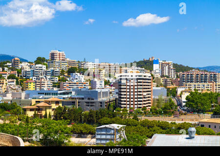 Panoramic view suburban Palma Mallorca with Belvere castle in the background. - Stock Photo