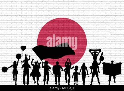 Japanese supporter silhouette in front of brick wall with Japan flag. All the objects, silhouettes and the brick wall are in different layers. - Stock Photo