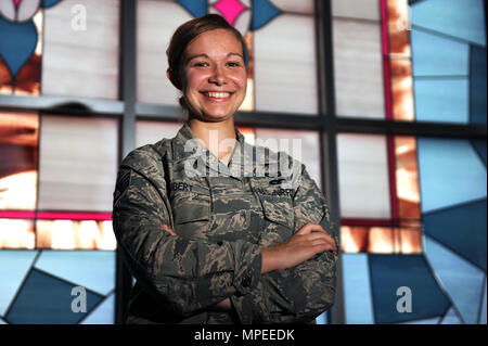 U.S. Air Force Staff Sgt. Sarah Hubert, 19th Airlift Wing chaplain assistant, provides support for religious observances. Hubert also serves as a neutral representative for service members. Hubert chose her job because she wanted to connect with Airmen and their families. (U.S. Air Force photo by Airman 1st Class Grace Nichols) - Stock Photo