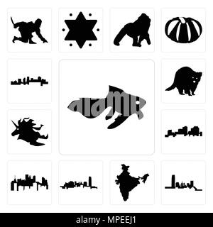 Set Of 13 simple editable icons such as goldfish, oklahoma, india, pennsylvania state, louisiana outline on white background, unicorn head, raccoon, a - Stock Photo