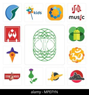 Set Of 13 simple editable icons such as celtic tree of life, kart, gryphon, thistle, steakhouse, aum, travel, mobile os a, fragile handle with care ca - Stock Photo
