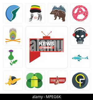 Set Of 13 simple editable icons such as all news channel, qf, steakhouse, mobile os a, gryphon, fishing team, thistle, skull with headphone, krishna c - Stock Photo