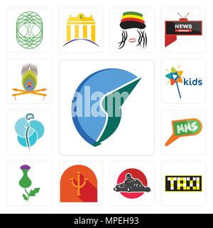 Set Of 13 simple editable icons such as trading co, taksi, kart, psi, thistle, mms, neurosurgery, kids channel, krishna can be used for mobile, web UI - Stock Photo