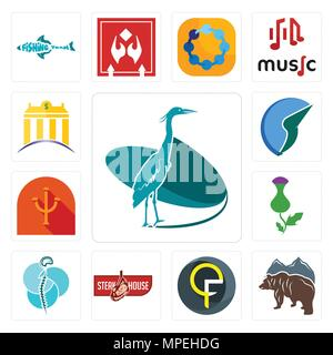 Set Of 13 simple editable icons such as heron, free bear, qf, steakhouse, neurosurgery, thistle, psi, trading co, banque can be used for mobile, web U - Stock Photo