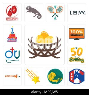 Set Of 13 simple editable icons such as bird nest, democratic party, welder, shooting stars, painting company, 50th birthday, dr., 100 guarantee, 1st  - Stock Photo