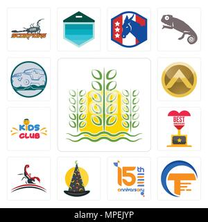 Set Of 13 simple editable icons such as paddy, traders, 15th anniversary, wizard hat, scorpion, best kids club, spartan shield, offroad can be used fo - Stock Photo