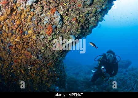 Underwater scene with a female scuba diver with torch looking at reef marine life in Ses Salines Natural Park (Formentera, Balearis Islands, Spain) - Stock Photo
