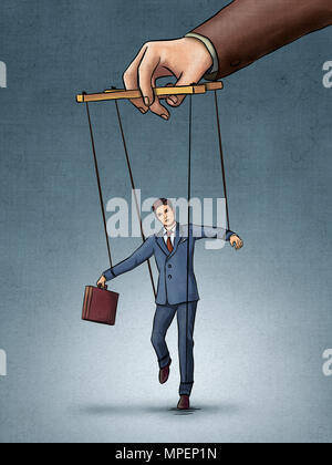 Businessman being pulled by strings like a puppet. Digital illustration, created from scratch with no reference used. - Stock Photo