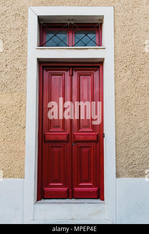 Red Wooden Paneled Front Door No 97 With Brass Letterbox