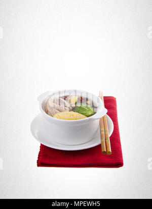 soup or chicken herb soup on a background - Stock Photo