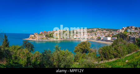 Panoramic view of the Old town of Ulcinj with the Kalaja castle above town beach, Montenegro - Stock Photo