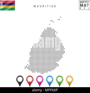 Vector Dotted Map of Mauritius. Simple Silhouette of Mauritius. The National Flag of Mauritius. Multicolored Map Markers - Stock Photo