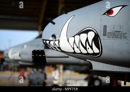 U.S. Air Force A-10 Thunderbolt II aircrafts sit on the flightline at Whiteman Air Force Base, Mo., Feb. 14, 2017. The A-10 Thunderbolt II has excellent maneuverability at low air speeds and altitude, and is a highly accurate and survivable weapons-delivery platform. The aircraft can loiter near battle areas for extended periods of time and operate in low ceiling and visibility conditions. (U.S. Air Force photo by Tech. Sgt. Andy M. Kin) - Stock Photo