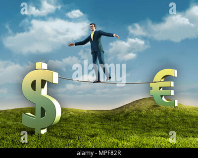 Businessman walking on a rope connecting some currencies symbols. Diigtal illustration. - Stock Photo
