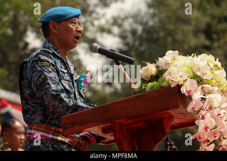 Royal Malaysian Air Force Col. Haji Mohamed Nazri Bin Dashah, director of joint forces headquarters, speaks at a site dedication ceremony at Ban Kok Kee San Toor, Khon Kaen Province, Thailand, during exercise Cobra Gold, Feb. 22, 2017. Cobra Gold, in its 36th iteration, focuses on humanitarian civic action, community engagement, and medical activities to support the needs and humanitarian interest of civilian populations around the region. (U.S. Marine Corps Combat Camera photo by Lance Cpl. Maximiliano Rosas) - Stock Photo