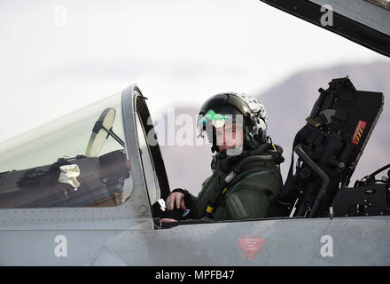 Royal Air Force Flight Lt. Jonny Mulhall, 6th Squadron Eurofighter Typhoon pilot, prepares the cockpit for take-off during Red Flag 17-1 at Nellis Air Force Base, Nev., Feb. 7, 2017.The Typhoon trained alongside the F-35A Lightning II for the first time at Red Flag preparing the RAF pilots for the introduction of the F-35B to the Royal Air Force and Navy. (U.S Air Force photo by Staff Sgt. Natasha Stannard) - Stock Photo