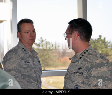 Air Force General Joseph L. Lengyel, Chief of the National Guard Bureau discusses National Guard issues with Air Force Maj. Gen. Anthony German, the Adjutant General of New York, during a meeting with northeast state National Guard Adjutants General at New York National Guard headquarters, Latham, NY, March 13, 2017.   (U.S. Army National Guard photo by Sgt. Maj. Corine Lombardo) - Stock Photo