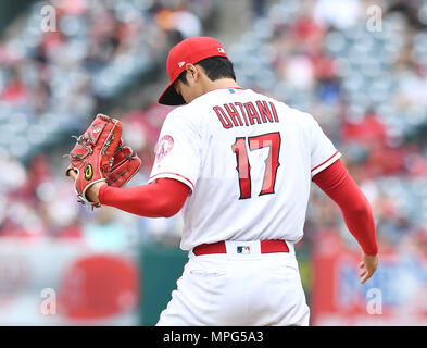 Los Angeles Angels starting pitcher Shohei Ohtani during the Major League Baseball game against the Tampa Bay Rays at Angel Stadium in Anaheim, California, United States, May 20, 2018. (Photo by AFLO) - Stock Photo
