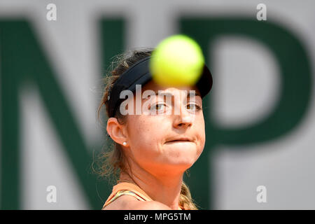 Paris, France. 23rd May, 2018. Margot Yerolymos of France eyes on the ball during the women's singles Qualification 1st round match of French Open against Lu Jiajing of China in Paris, France on May 23, 2018. Margot Yerolymos won 2-0. Credit: Chen Yichen/Xinhua/Alamy Live News - Stock Photo