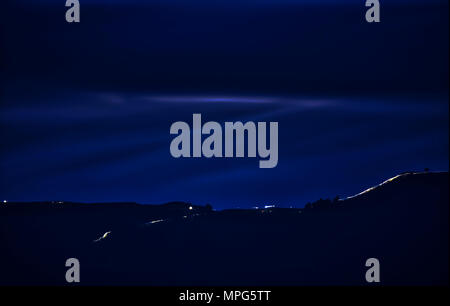 Peak District, Derbyshire. 22nd May, 2018. Hundreds of night walkers join Julia Bradbury & Sam Thompson head torches light up the Peak District's Great Ridge, Mam Tor to Loose Hill in the Peak District National Park, Derbyshire 22nd May 2018 Credit: Doug Blane/Alamy Live News - Stock Photo