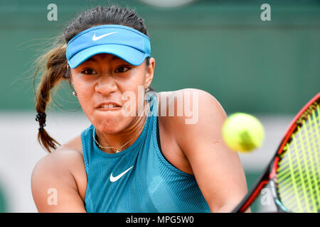 Paris, France. 23rd May, 2018. Destanee Aiava of Australia returns the ball to Liu Fangzhou of China during the women's singles Qualification 1st round match of French Open in Paris, France on May 23, 2018. Destanee Aiava lost 1-2. Credit: Chen Yichen/Xinhua/Alamy Live News - Stock Photo